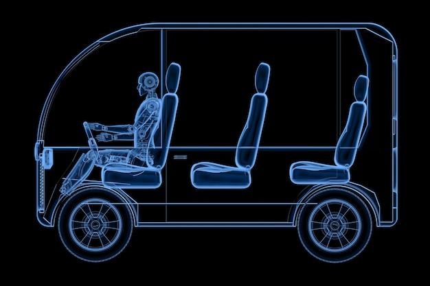 3d-рендеринг рентгеновского робота за рулем мини-автобуса, изолированного на черном