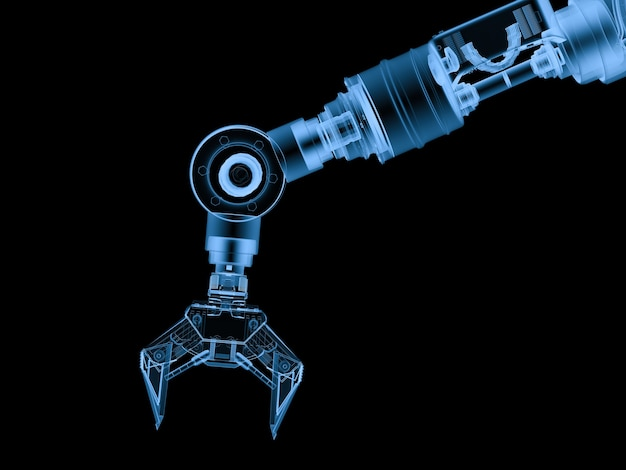 3d rendering x ray robotic arm isolated on black