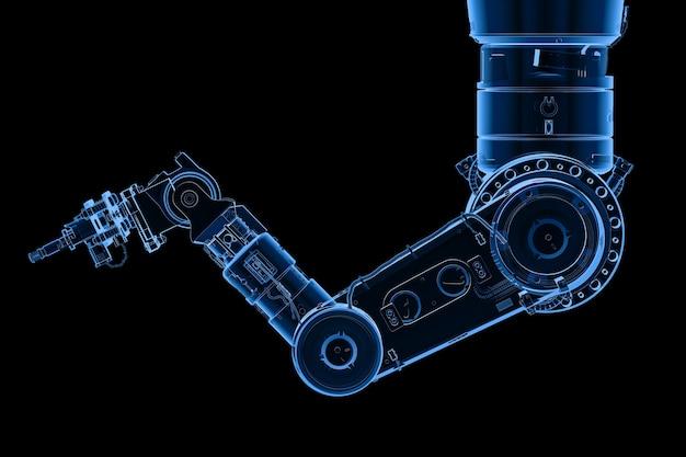 3d-рендеринг рентгеновской роботизированной руки или руки робота, изолированной на черном