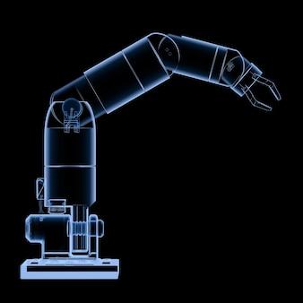 3d 렌더링 엑스레이 로봇 팔 또는 로봇 손이 검정에 격리됨