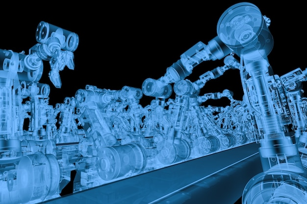 3d rendering x ray robotic arm with conveyor line isolated on black