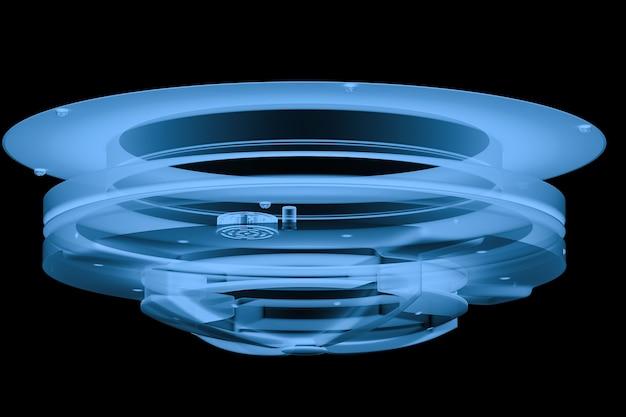 블랙에 고립 된 3d 렌더링 x 레이 보안 카메라 또는 cctv 카메라