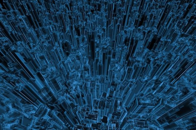 黒で分離された3dレンダリングx線都市都市
