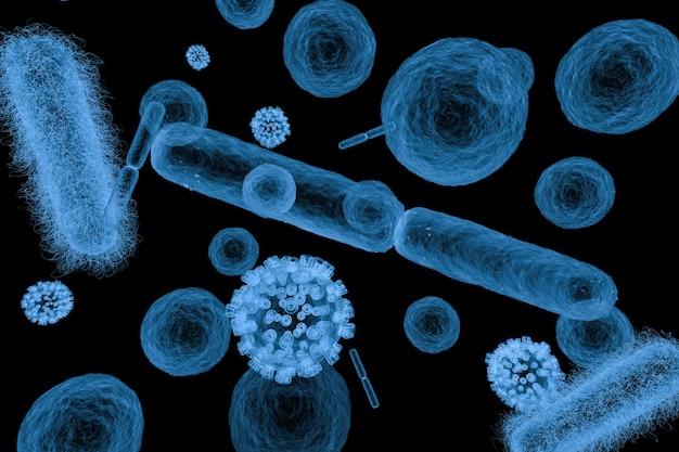 3d 렌더링 엑스레이 다양한 박테리아 세포와 바이러스는 검정에 격리되어 있습니다.