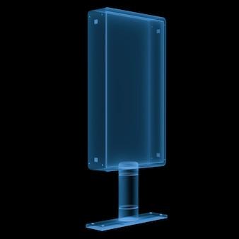 3d-рендеринг рентгеновского вертикального рекламного щита, изолированного на черном