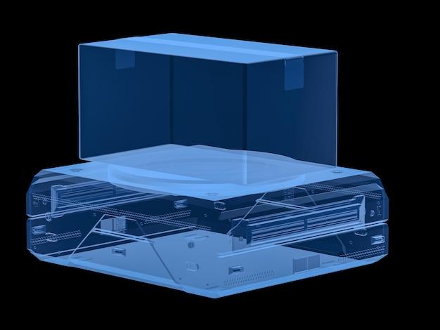 3d-рендеринг рентгеновский складской робот несет картонную коробку, изолированную на черном