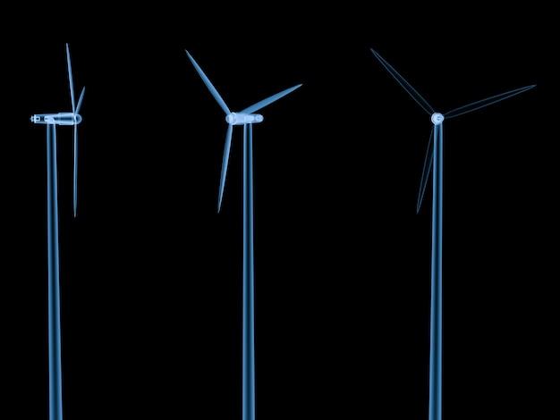 3d-рендеринг рентгеновских ветряных турбин изолирован на черном