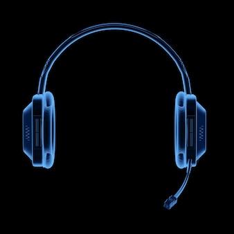 3dレンダリングx線ヘッドセットまたはマイク付きヘッドフォン