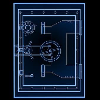 3d-рендеринг металлического банковского сейфа или стального сейфа