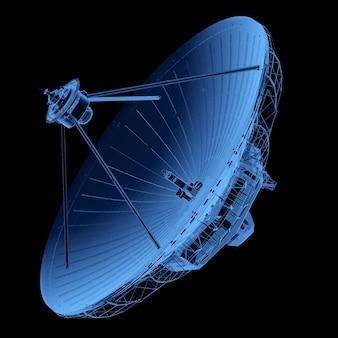 3d-рендеринг рентгеновской спутниковой тарелки с антенной, изолированной на черном фоне