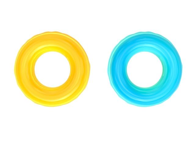 3d-рендеринг желтых и синих плавательных колец, изолированных на белом