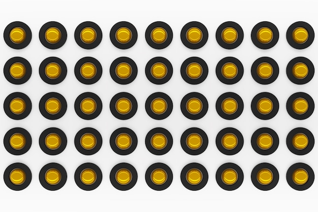 3d rendering of a yellow and black gyroscopes on a white background.