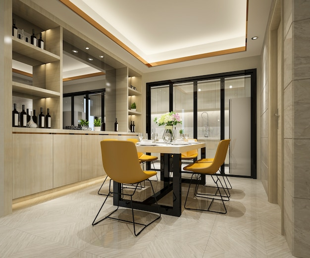 3d rendering of yellow chair and luxury kitchen with dining table