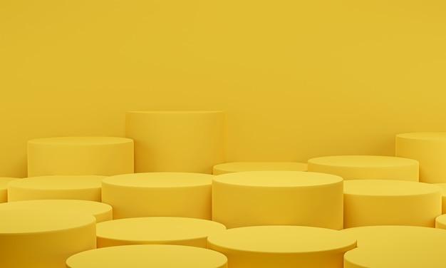 3d-рендеринг. желтый подиум цилиндра минимальный фон студии. платформа абстрактной геометрической формы с пустым пространством.
