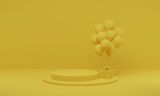 3d-рендеринг. желтый подиум цилиндра минимальный с воздушным шаром на предпосылке студии. платформа абстрактной геометрической формы с пустым пространством.
