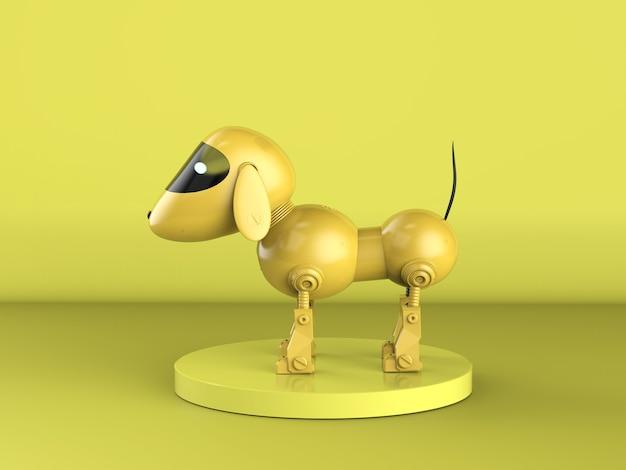 3d-рендеринг желтая собака-робот на желтом фоне