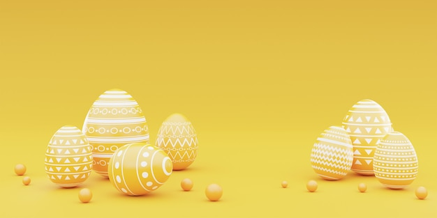 3d rendering of yellow easter eggs on yellow background.happy easter concept.