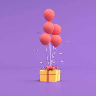 3d rendering of a yellow gift box with balloons