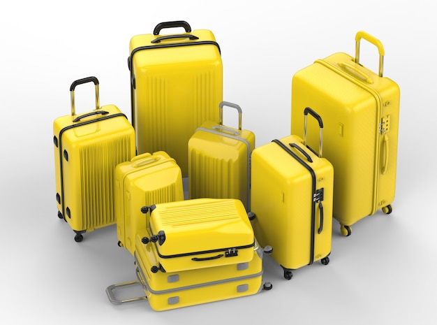 3d rendering yellow hard case luggages on white background