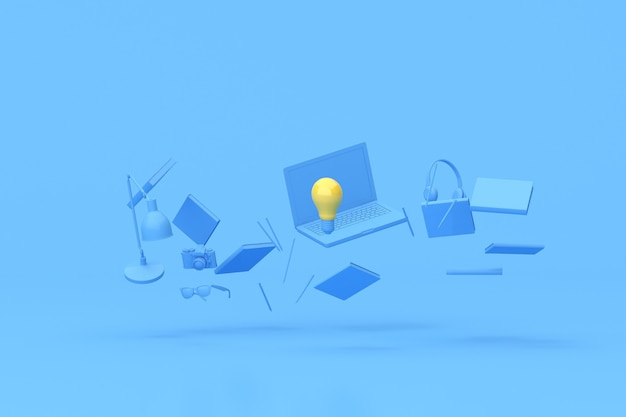 3d rendering of yellow light bulb among floating laptop and office accessories