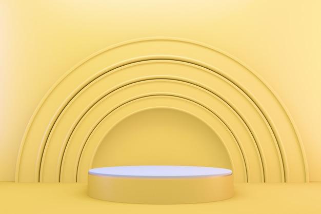 3d 렌더링. 노란색 현대 최소한의 모의 노란색 연단 추상 실린더 디스플레이.