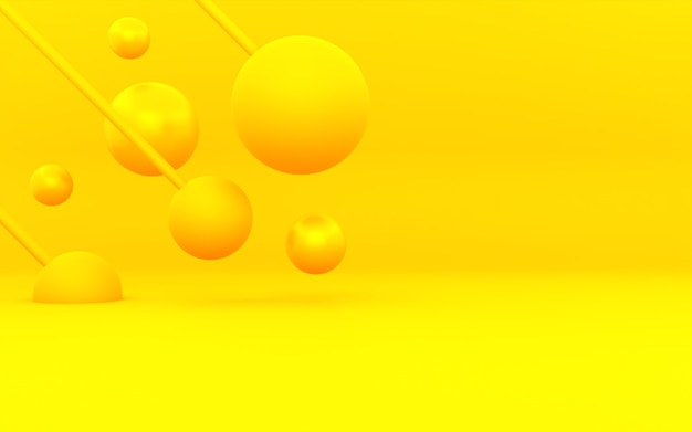 3d rendering of yellow orange abstract minimal concept background. scene for advertising