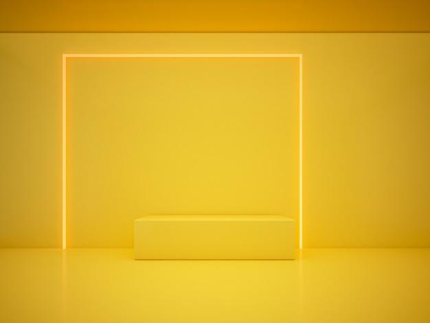 3d rendering yellow podium  and lighting line yellow background. minimalist concept