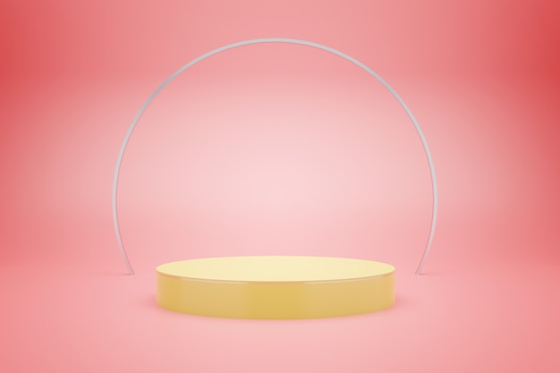 3d rendering of yellow podium with pink pastel color  background for product advertising, minimal style