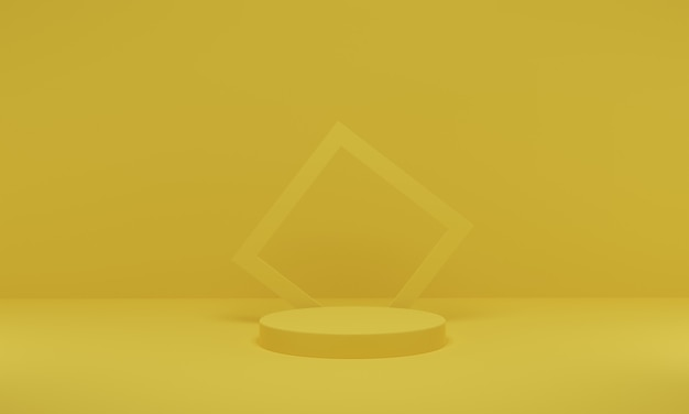 3d rendering. yellow scene geometric shape podium stage for product promotion. abstract minimalist design with empty space.