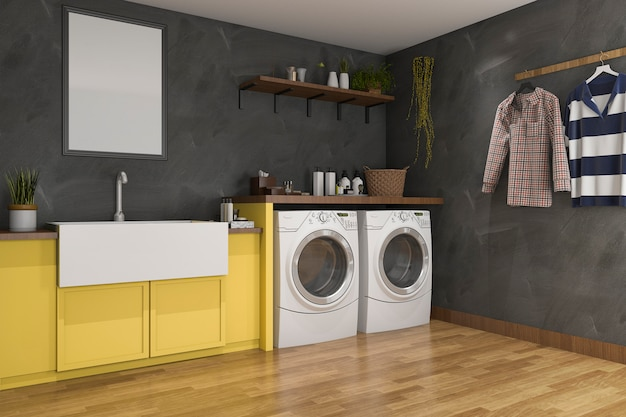 3d rendering yellow sink in laundry room with loft wall