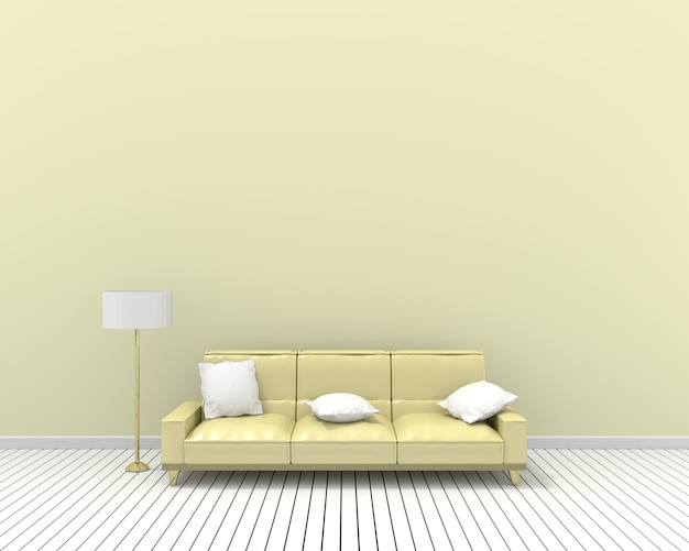 3d rendering yellow sofa white pillows and lamp, pastel wall color