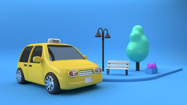 3d rendering yellow taxi eco car