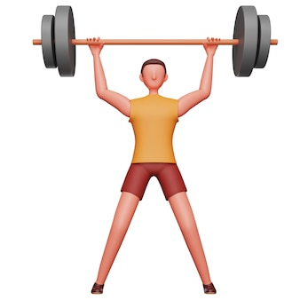 3d rendering of young man lifting dumbbell on white background.