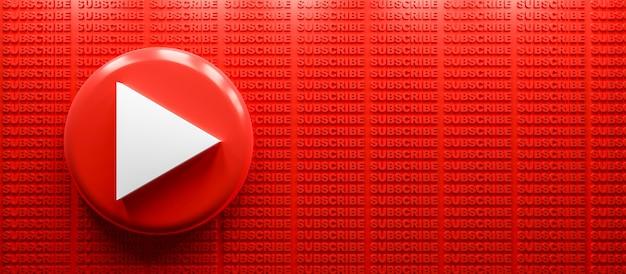 구독 텍스트 배경이 있는 3d 렌더링 youtube 로고