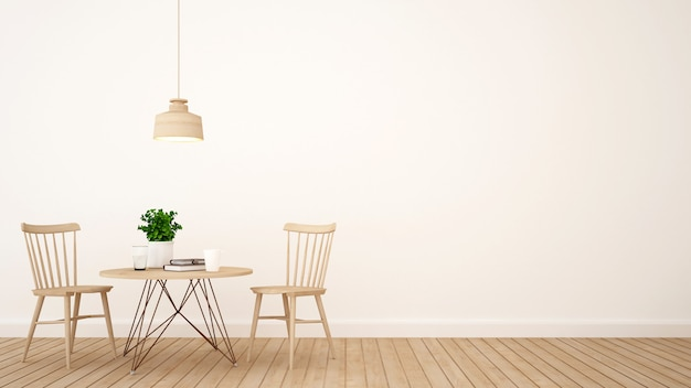コーヒーショップやレストランのミニマルデザイン -  3d rendering