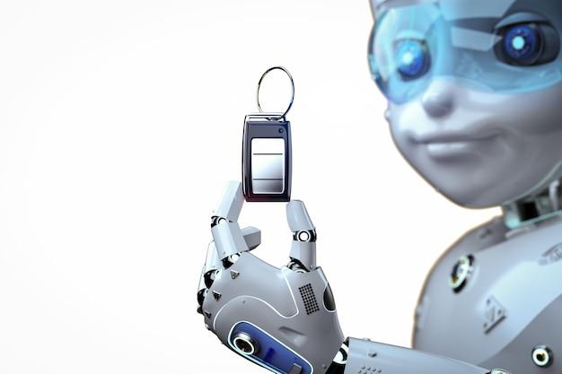 3dレンダリングロボットが車のキーまたは車のリモコンをオンに保持