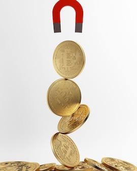 3d 렌더링golden bitcoin 디지털 통화높은 이익 개념높은 흡입 자석 동전