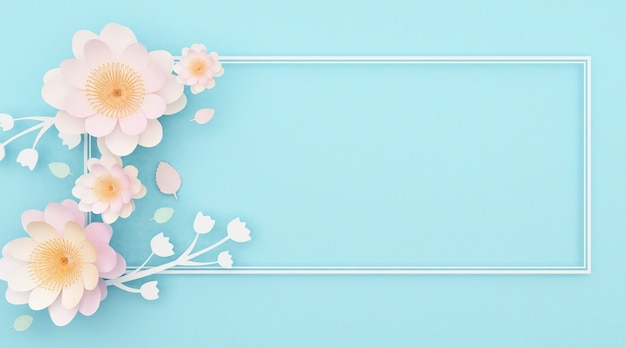 3d renderings of abstract light blue background with decorative roses and square lines