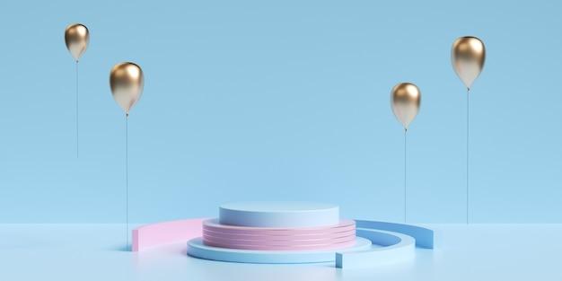 ディスプレイのモックアップ用の金色の風船を使用した抽象的な幾何学的な3dレンダリング
