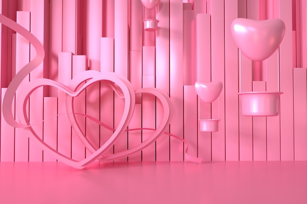 제품 표시를위한 장식 하트가있는 기하학적 핑크의 3d 렌더링