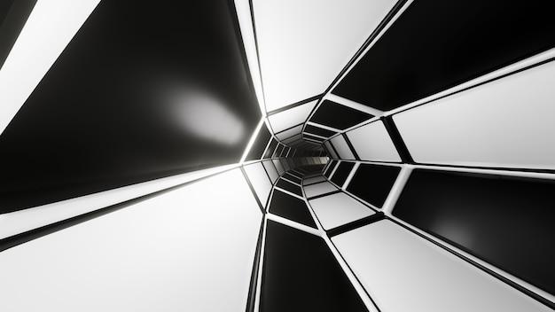 3d 렌더링 공상 과학 터널 흑백 추상 어두운 배경