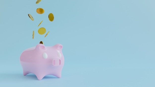 3d renderring копилки с падая золотой монетой. концепция денег сбережений.