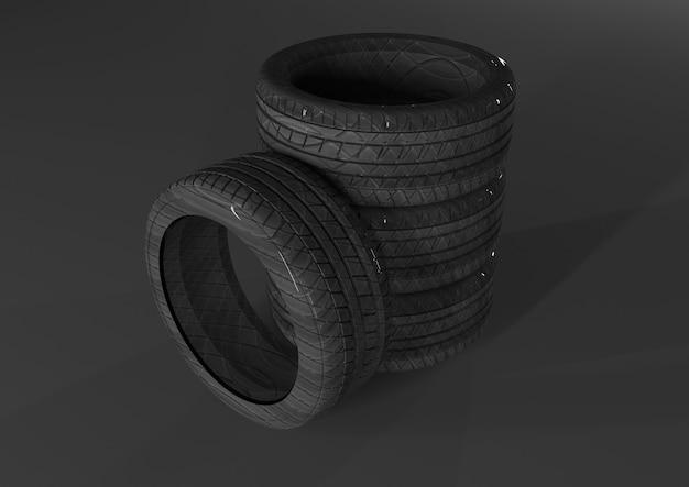 흰색 배경에 3d rendertruck 타이어