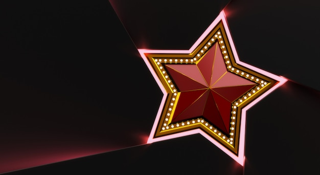 3d rendiring of gold star with lights isolated on black background.