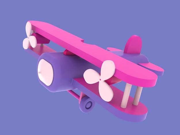 3d retro pink airplane toy 3d illustration