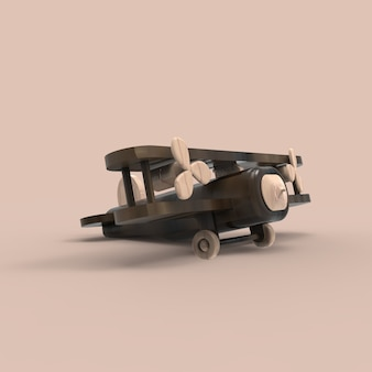 3d retro wood airplane toy, 3d illustration