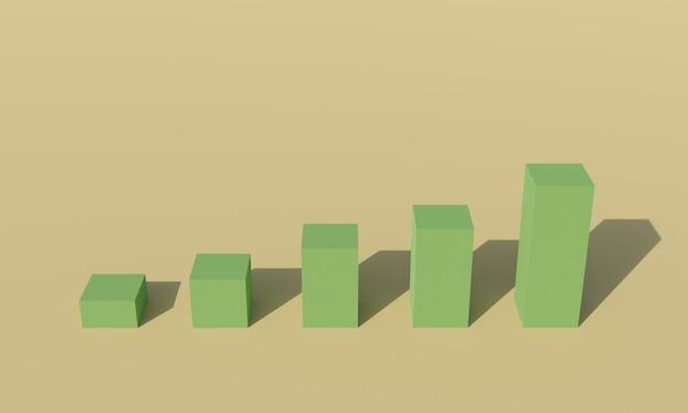 3d 상승 비즈니스 그래프, 녹색 성장 막대 그림