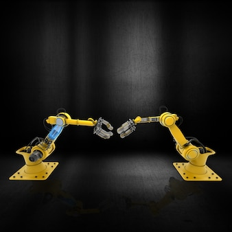 3d robot arms on a grunge metallic surface