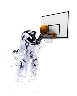 3d robot playing basketball