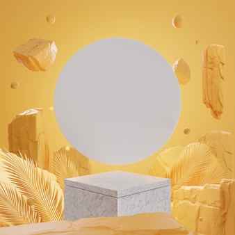 3d rocks and stones on marble podium on yellow wall